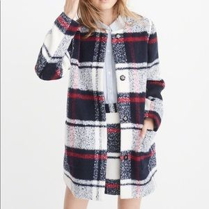 A & F Collarless wool blend plaid coat - worn once